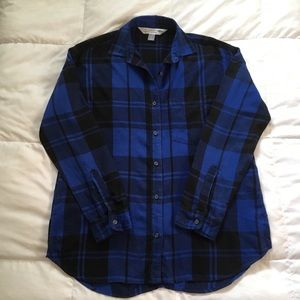 Old Navy Boyfriend Shirt Flannel Blue Black Medium